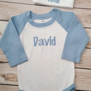 Baby Boy Clothes Baby Boy Coming Home Outfit Newborn Baby Boy Hat Personalized Bodysuit and Cap with name Baby Boy Gift