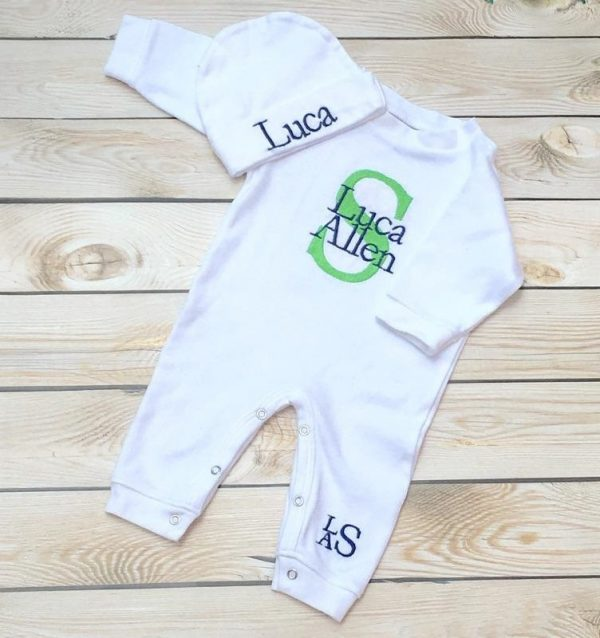 Baby Boy Coming Home Outfit Baby Boy Take Home Outfit Monogrammed Baby Boy Gift Newborn Baby Boy Embroidered Baby Boy