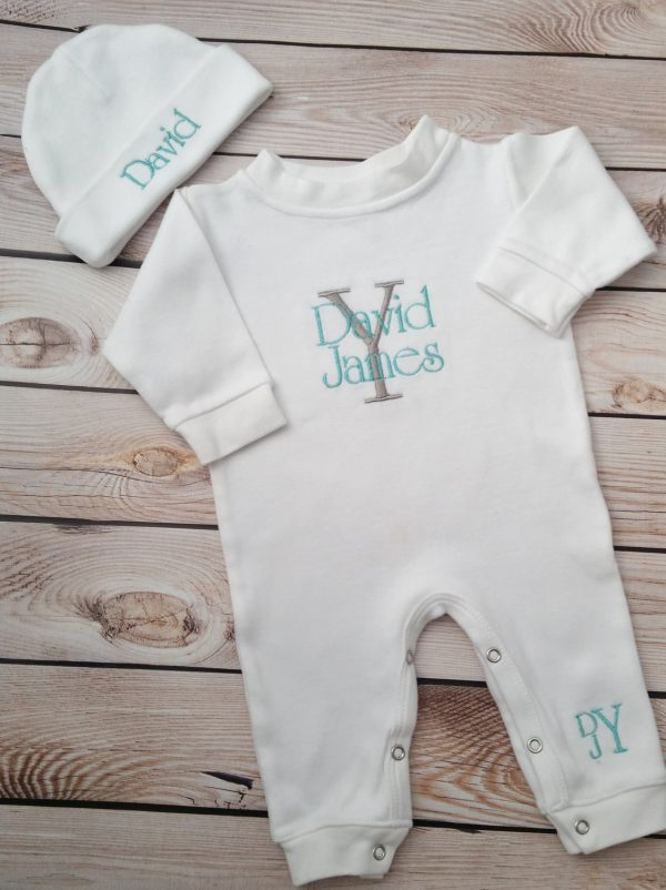 Baby Boy Coming Home Outfit Monogrammed Baby Boy Light Teal and Gray with Leg Monogram and Personalized Hat Baby Boy Coming Home Outfit