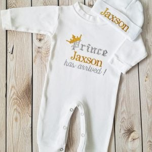 Baby Boy Coming Home Outfit Monogrammed Baby Boy Prince Newborn Baby Boy Outfit Personalized Baby Boy Gift Embroidered Baby Boy Take Home