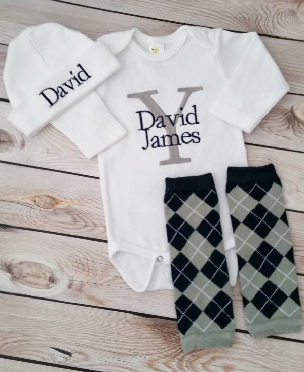 Baby Boy Coming Home Outfit Monogrammed Baby Boy with Leg Warmers Navy and Gray Bodysuit with Argyle Leg Warmers and Personalized Hat