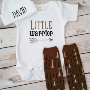 Baby Boy Coming Home Outfit Newborn Baby Boy Hat Little Warrior Bodysuit with Leg Warmers and Cap with name