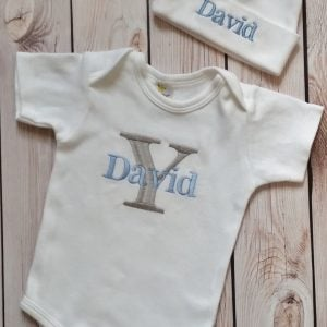 Baby Boy Coming Home Outfit Newborn Baby Boy Hat Monogrammed in Blue and Gray Gown or Bodysuit and Cap with name