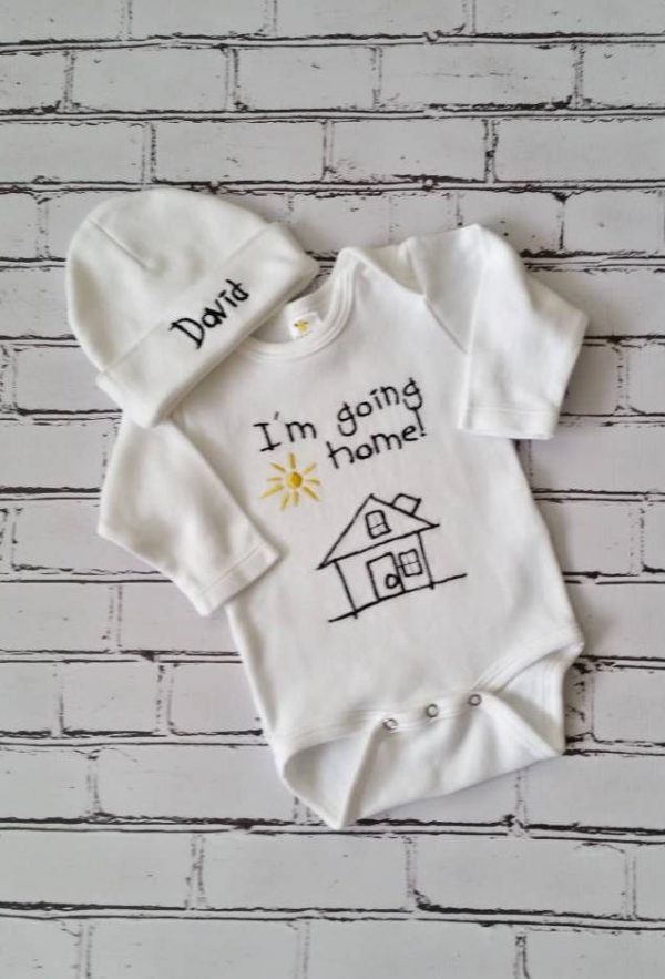 Baby Boy Coming Home Outfit Newborn Baby Boy Hat Personalized Gown or Bodysuit and Cap
