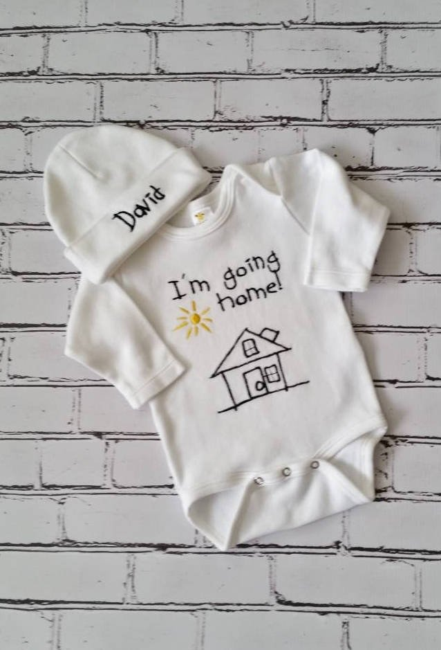 ce25e7c327d18 Baby Boy Coming Home Outfit Newborn Baby Boy Hat Personalized Gown or  Bodysuit and Cap