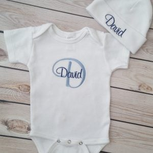 Baby Boy Coming Home Outfit Newborn Baby Boy Hat Personalized Gown or Bodysuit and Cap with name