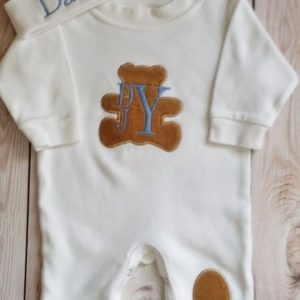 Baby Boy Coming Home Outfit Newborn Baby Boy Hat Personalized Sleeper Romper and Cap with appliqued teddy and leg patch