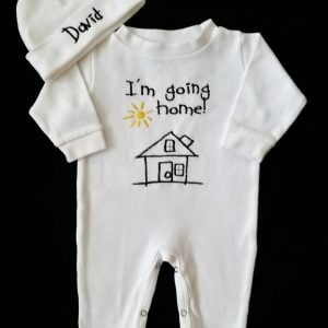 Baby Boy Coming Home Outfit Newborn Baby Boy Hat Sleeper Romper and Personalized Cap