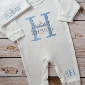 Baby Boy Personalized Coming Home Outfit Monogrammed Baby Boy Newborn Baby Boy Outfit Baby Boy Gift Embroidered Baby Boy Take Home Outfit