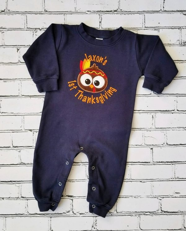 Baby Boy Thanksgiving Outfit Personalized Baby Boy Romper Sleeper Baby Boy First Thanksgiving Outfit