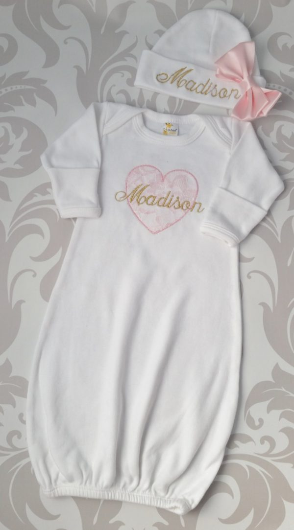 Baby Girl Coming Home Outfit Newborn Baby Girl Cap Personalized Gown or Bodysuit and Cap