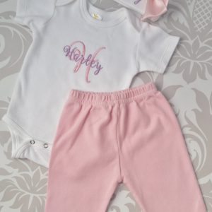 Baby Girl Coming Home Outfit Newborn Baby Girl Hat Personalized Bodysuit with pants and Cap with name