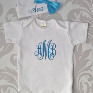 Baby Girl Coming Home Outfit Newborn Baby Girl Hat Personalized Gown or Bodysuit and Cap