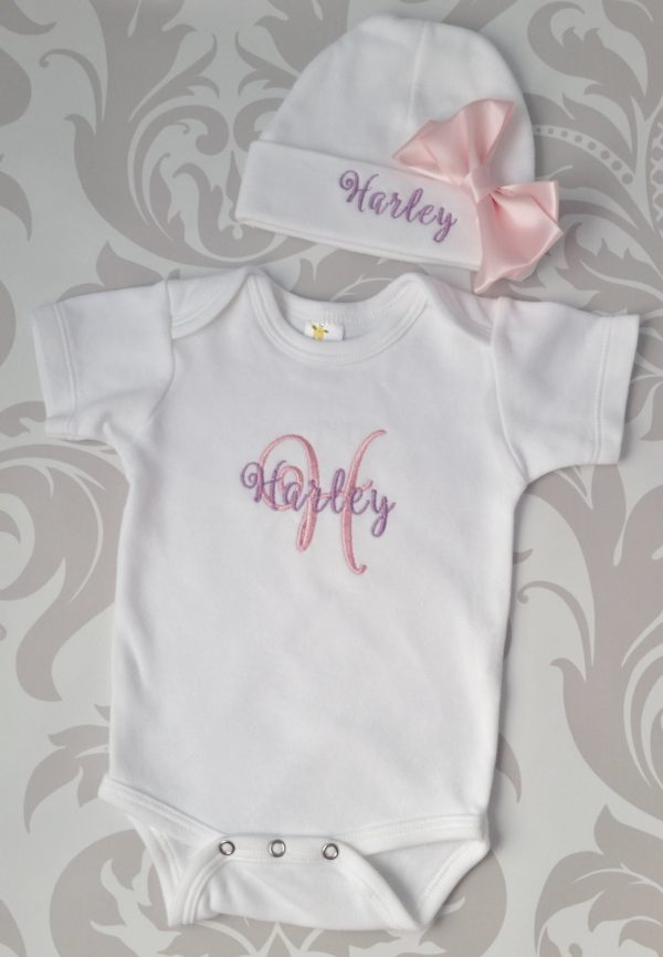 Baby Girl Coming Home Outfit Newborn Baby Girl Hat Personalized Gown or Bodysuit and Cap with name