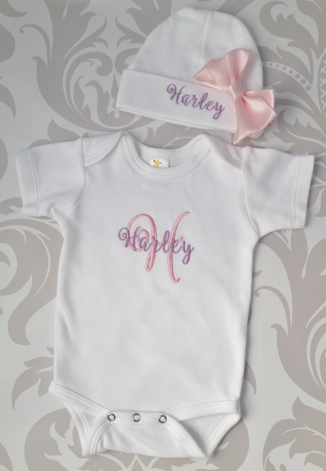 1f017950984a5 Baby Girl Coming Home Outfit Newborn Baby Girl Hat Personalized Gown or  Bodysuit and Cap with