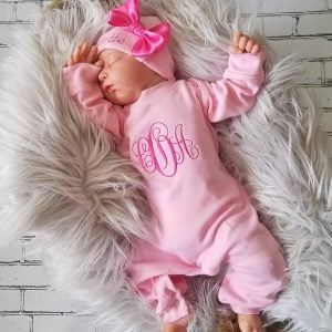 7710ad8657181 ... Baby Girl Coming Home Outfit Newborn Baby Girl Personalized Sleeper  Romper Baby Girl Gift
