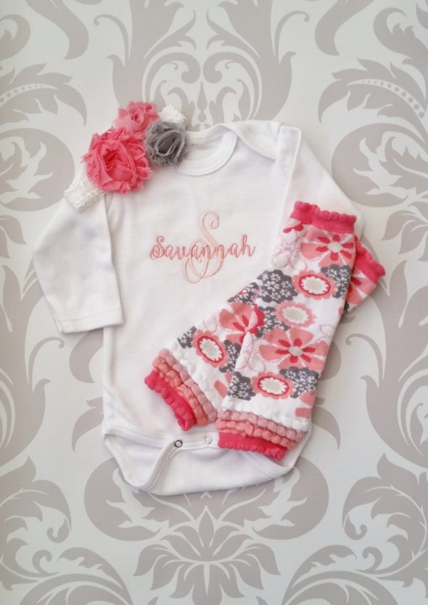 Baby Girl Coming Home Outfit Personalized Baby Girl Monogrammed Baby Girl Baby Girl Leg Warmers Baby Girl Gift