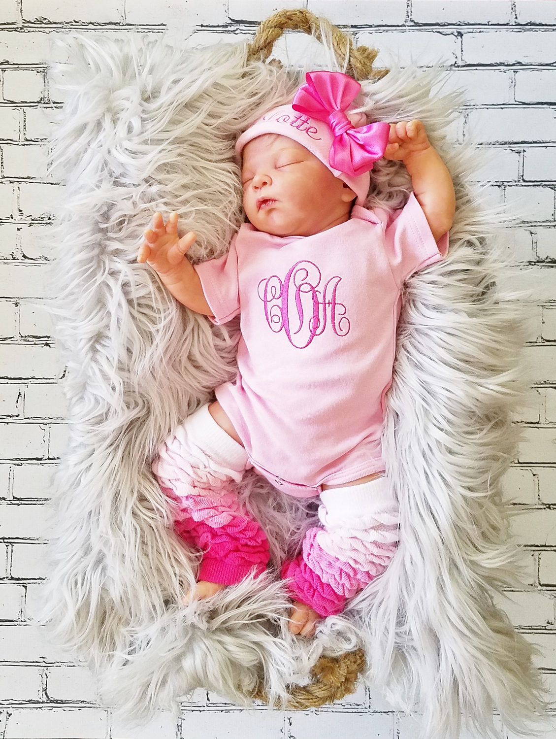 Baby Girl Coming Home Outfit Personalized Baby Girl Monogrammed Baby Girl Gift Newborn Baby Girl Baby Girl Leg Warmers Embroidered Baby Girl