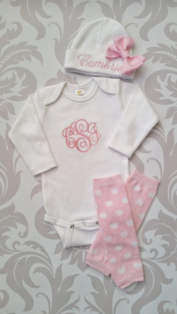 Baby Girl Take Home Outfit Personalized Baby Girl Monogrammed Baby Girl Gift Baby Girl Coming Home Outfit