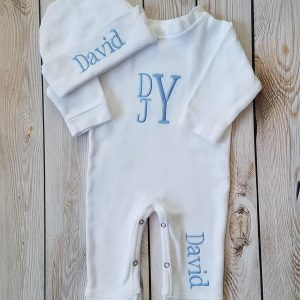 Monogrammed Baby Boy Outfit Baby Boy Coming Home Outfit Newborn Baby Boy Personalized Baby Gift Baby Boy Take Home Outfit
