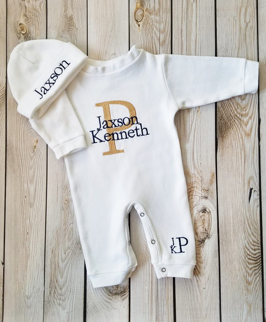Tan and Navy Monogrammed Baby Boy outfit - Lollipop Kids
