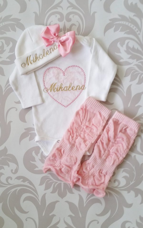 Newborn Baby Girl Coming Home Outfit Personalized Baby Girl Monogrammed Baby Girl Gift Baby Girl Leg Warmers