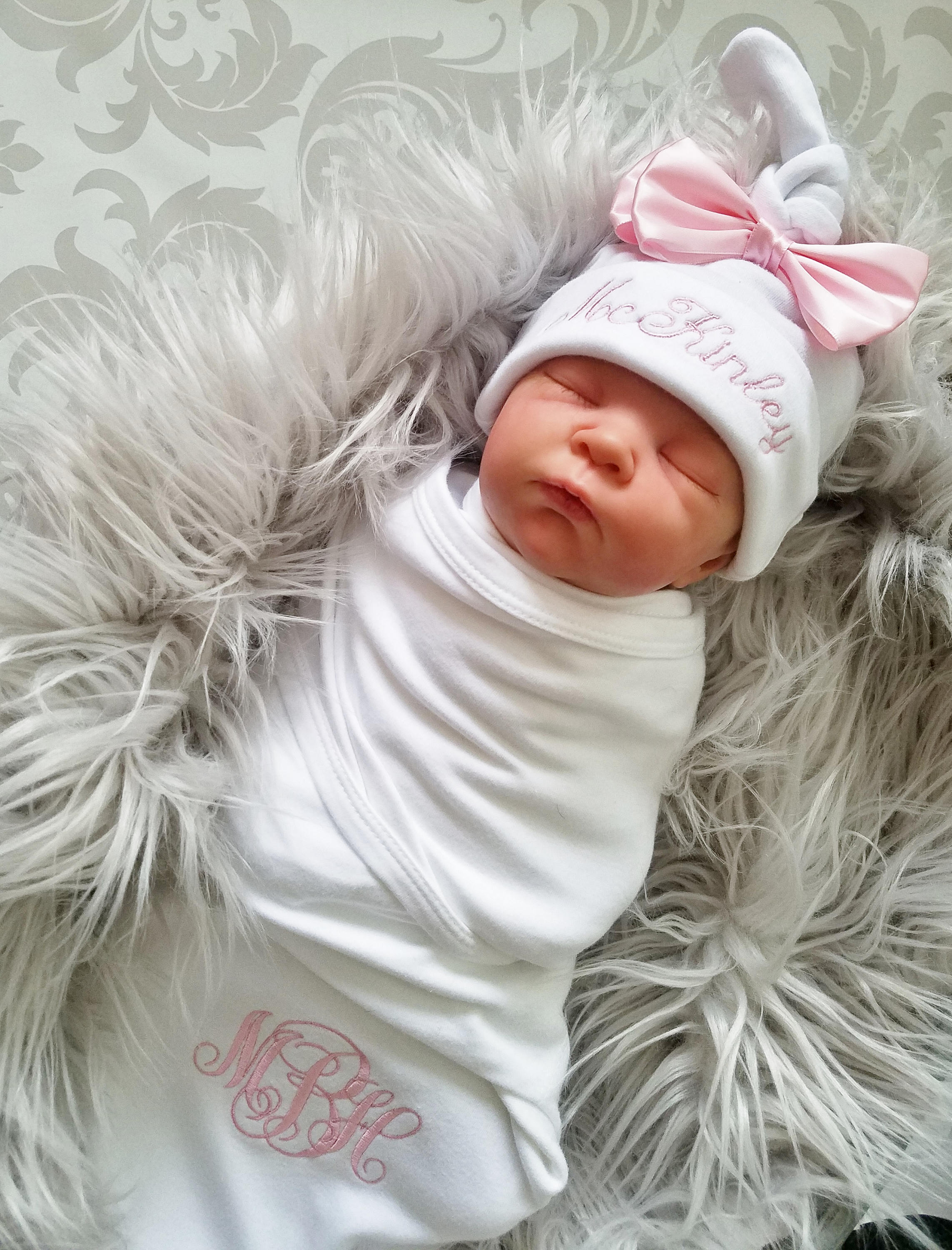 29d1a8a177e Newborn Baby Girl Monogrammed Baby Girl Swaddle Baby Girl Hospital Outfit Newborn  Baby Girl Personalized Baby