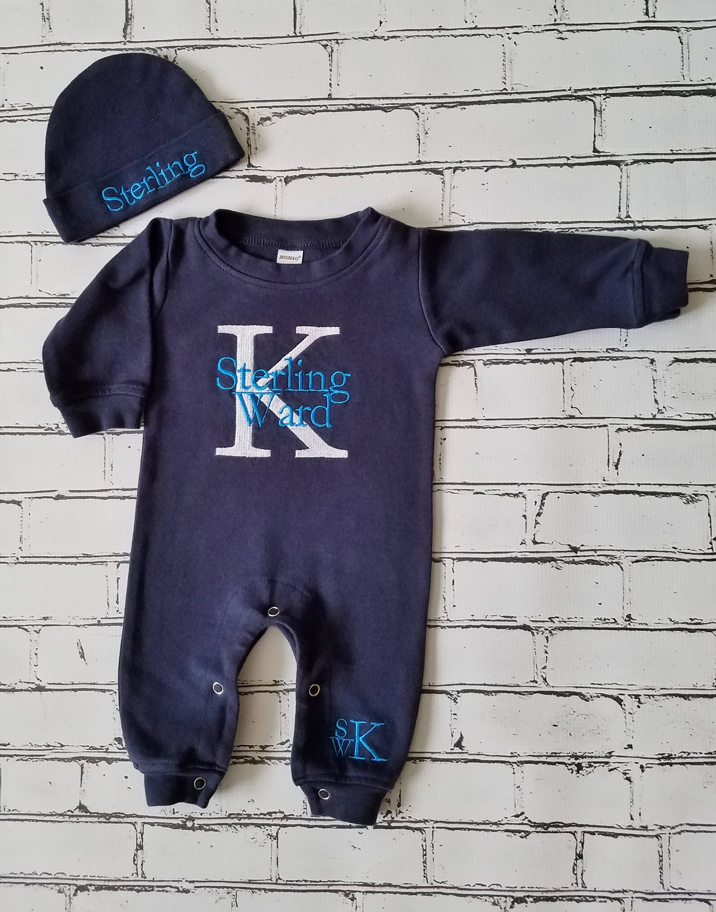 Classic newborn gown Monogramed baby boy gown Infant boy gown Baby Boy Monogrammed Infant Gown newborn gown