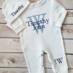 Shades of Blue Monogrammed Baby Boy Coming Home Outfit Image
