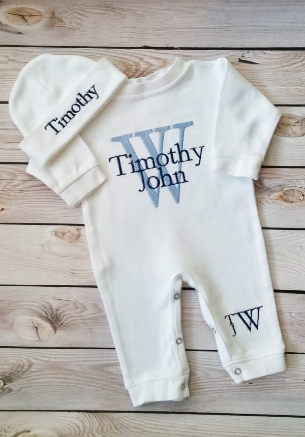 Newborn Boy Outfit Baby Boy Coming Home Outfit Monogrammed Baby Boy Personalized Baby Gift Embroidered Baby Boy Take Home Outfit