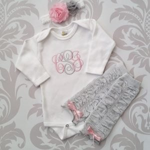 Newborn Girl Outfit Baby Girl Coming Home Outfit Monogrammed Baby Girl Personalized Baby Gift Baby Girl Legwarmers