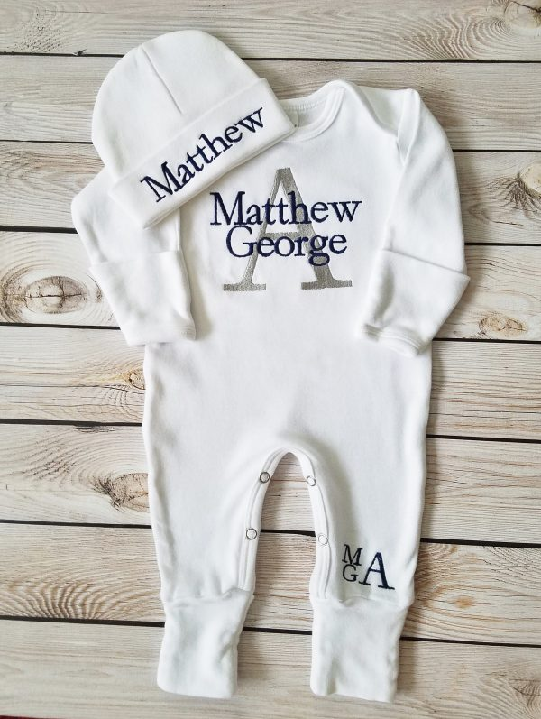 Baby Boy Footed Sleeper Baby Boy Take Home Outfit Newborn Baby Boy Personalized Footed Sleeper Romper Baby Boy Gift