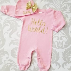 Baby Girl Coming Home Outfit Hello World Baby Girl Newborn Baby Girl Personalized Baby Girl Personalized Newborn Hat Baby Girl Gift