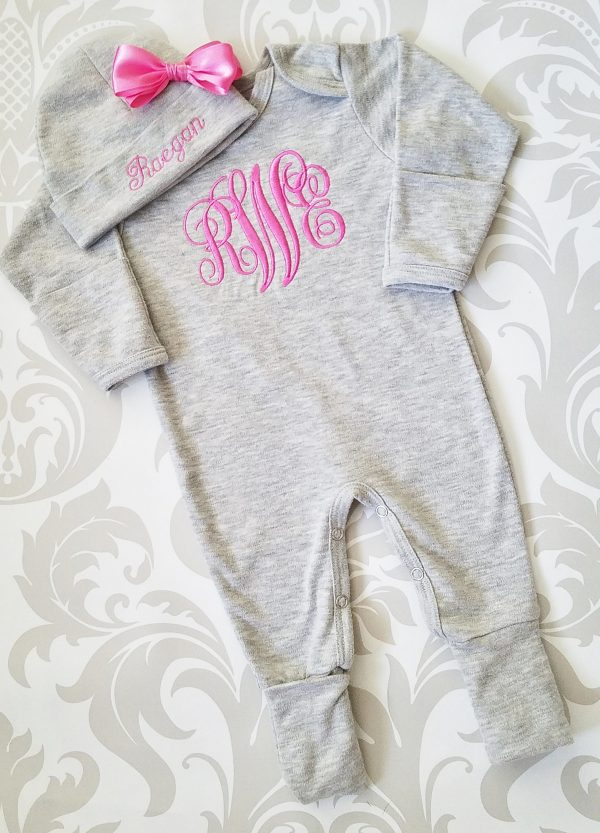 Baby Girl Footed Sleeper Baby Girl Take Home Outfit Newborn Baby Girl Personalized Footed Sleeper Romper Baby Girl Gift