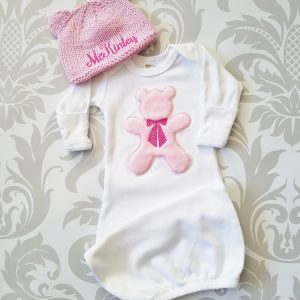 Baby Girl Gown Baby Girl Take Home Outfit Newborn Baby Girl Personalized Hat Baby Girl Gift