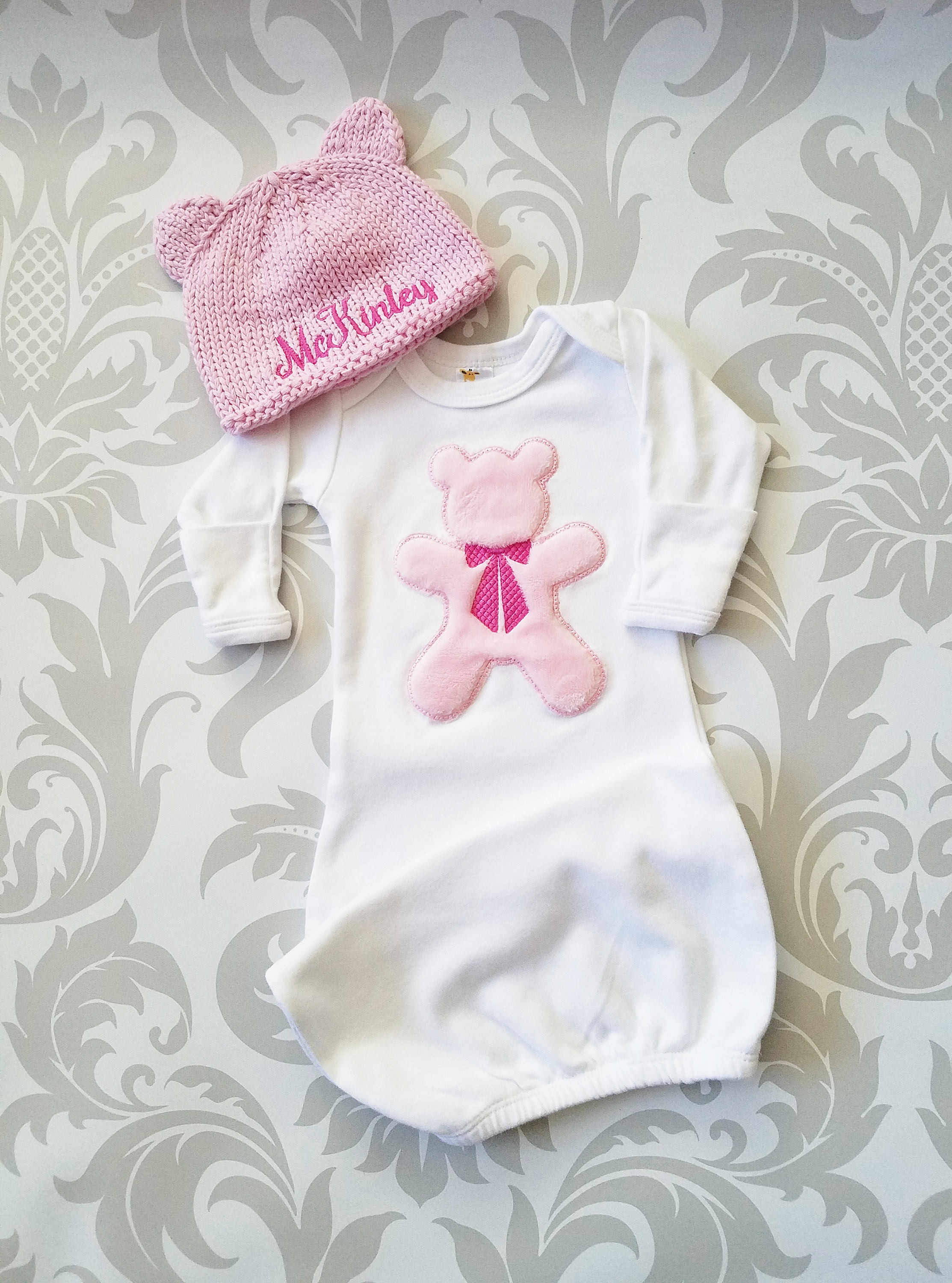 d2a5a3e27 Baby Girl Gown Baby Girl Take Home Outfit Newborn Baby Girl Personalized  Hat Baby Girl Gift