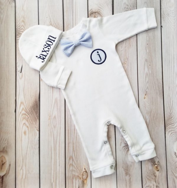 Newborn Boy Outfit Baby Boy Coming Home Outfit Monogrammed Baby Boy Personalized Baby Boy Take Home Outfit Baby Gift Seersucker Baby Boy