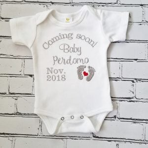 Pregnancy Reveal Pregnancy Announcement Embroidered Coming Soon Bodysuit Personalized Pregnancy Announcement
