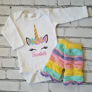 Baby Girl Unicorn Outfit Personalized Baby Girl Baby Girl Gift Newborn Baby Girl Baby Girl Leg Warmers Embroidered Baby Girl
