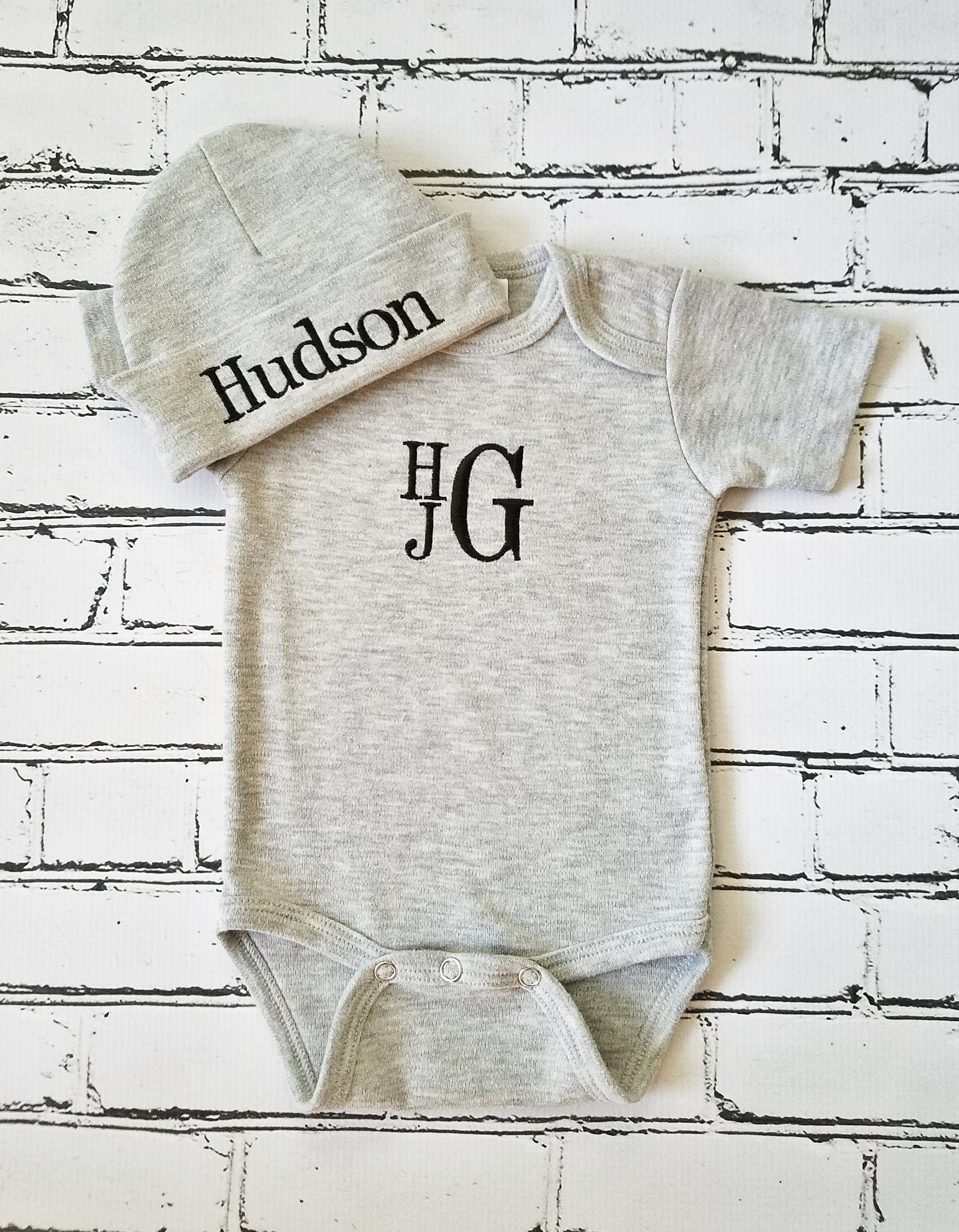 Baby Boy Coming Home Outfit Monogrammed Baby Boy Outfit Newborn Baby Boy Personalized Baby Gift Embroidered  sc 1 st  Lollipop Kids Designs & Gray Bodysuit with Stacked Monogram - Lollipop Kids Designs