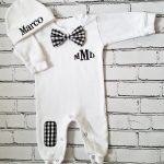 Black And White Checked Bow Tie Set Image
