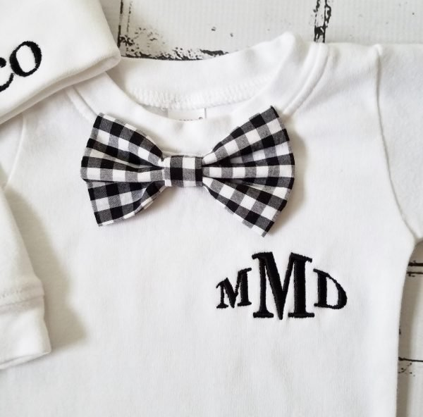 Newborn Boy Outfit Baby Boy Coming Home Outfit Monogrammed Baby Boy Personalized Baby Boy Take Home Outfit Baby Gift