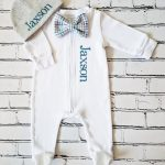Baby Boy Bow Tie Footie and Hat Image