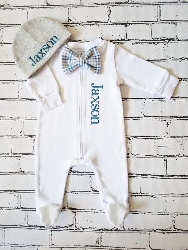 Baby Boy Coming Home Outfit, Baby Bow Tie Footie, Monogrammed Baby Boy, Newborn Personalized Baby Take Home Outfit, Baby Gift