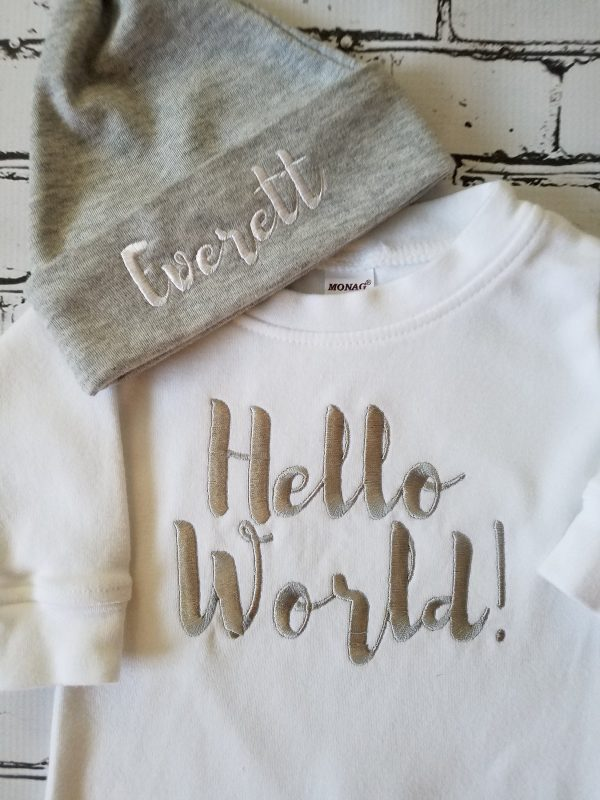 Baby Boy Coming Home Outfit Hello World Baby Boy Newborn Baby Boy Personalized Baby Boy Personalized Newborn Hat Baby Boy Gift