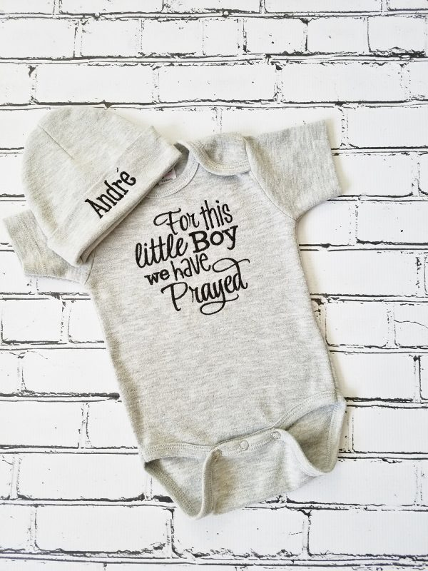 Baby Boy Coming Home Outfit, Monogrammed Baby Boy Outfit, For This Little Boy We have Prayed, Baby Shower Gift