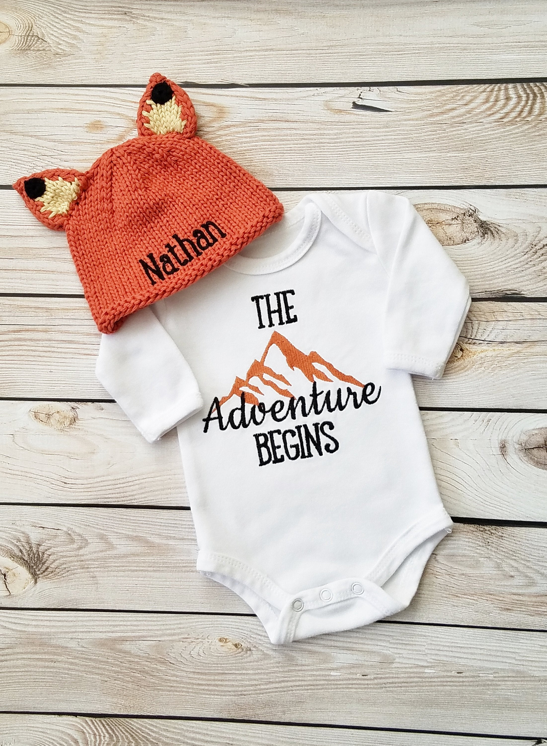 Baby Boy Coming Home Outfit Newborn Boy Personalized Fox Hat Adventure Bodysuit Baby Boy Gift