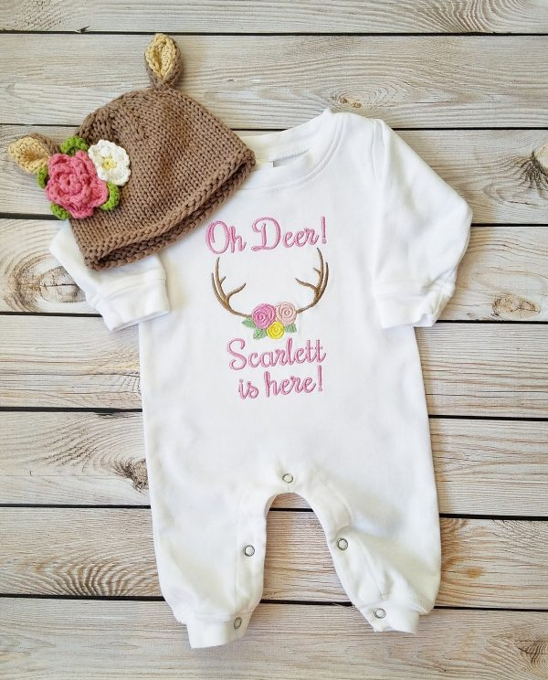 Baby Girl Coming Home Outfit Newborn Baby Girl Personalized Sleeper Romper Baby Girl Gift