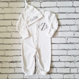 Baby Boy Coming Home Outfit Newborn Baby Boy Personalized Gown Convertible To Sleeper Baby Boy Gift