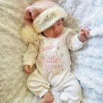 Santa's Little Princess Outfit With Personalized Pink Knit Santa Hat Image